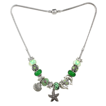 Annapaer Starfish Charm Necklaces & Pendants Silver Color Green Glass Beads Jewelry 2016 Necklace for Women Gift PN001(China)