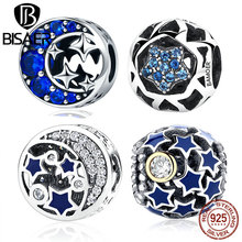 925 Sterling Silver Vintage Blue STARS Beads Charms Fit BISAER Women Bracelets & Bangles DIY Jewelry ECC057(China)