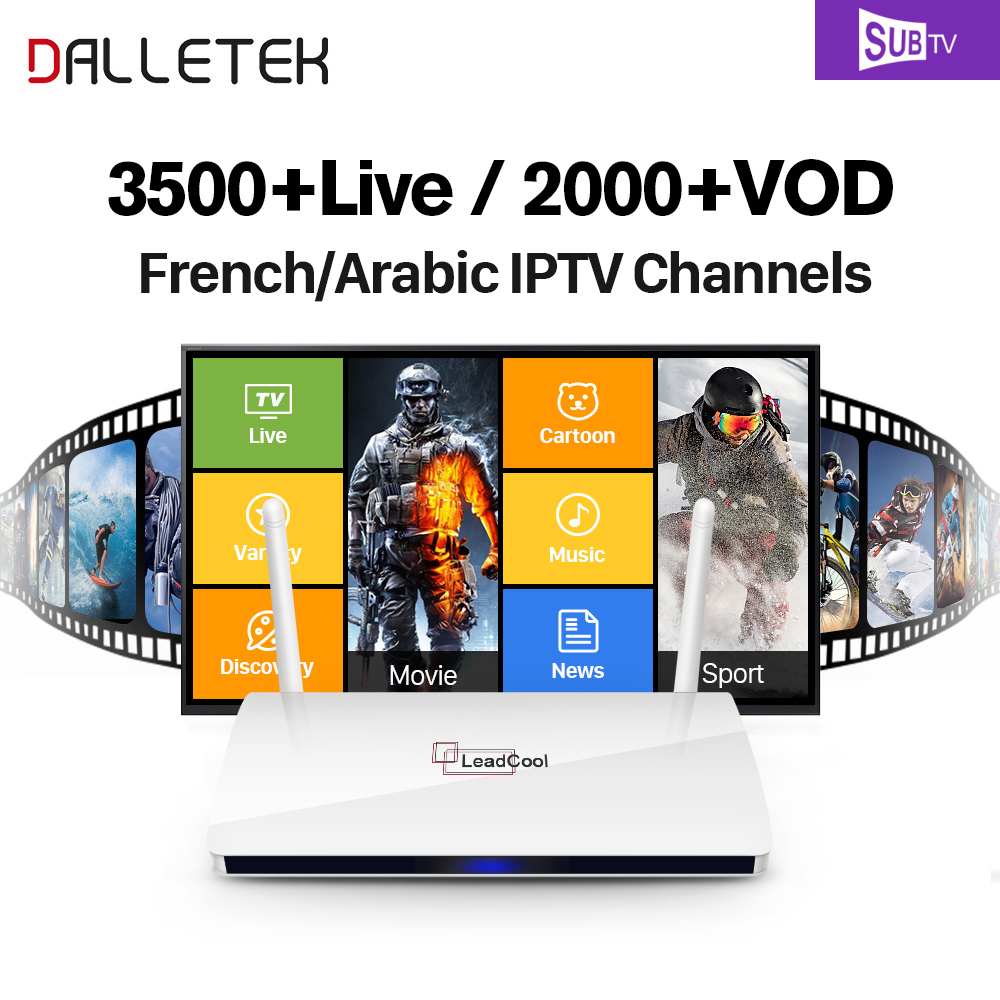 Dalletektv Leadcool Android Smart TV Box SUBTV Account 3500 Channels IPTV Europe Turkish VOD Movie Sports Arabic French Mtv Box