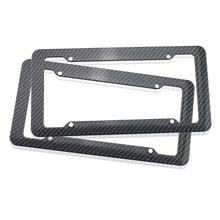 VODOOL 2pcs Plastic Carbon Fiber Style License Plate Frames Car-styling Auto Vehicle Number Plate Holder For Front Rear Braket(China)