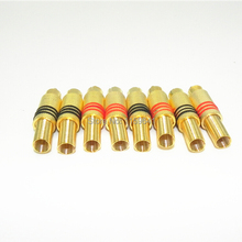 200pcs rca audio gold connector RCA Plug Male Audio Connector 24K gold plating Metal spring 100 pcs Red + 100 pcs Black(China)
