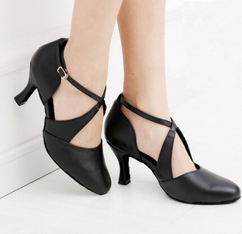 Women Dance Shoes Black Genuine Leather Ballroom Shoes Dance Shoes Latin SALSA Bachata Dance Shoes<br>