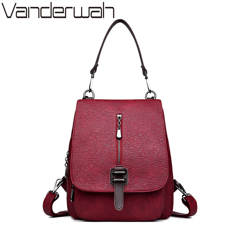 VANDERWAH Multifunction Leisure Women Backpack Leather Backpacks Female School Shoulder Bags for Teenage Girls Travel Back Pack<br>