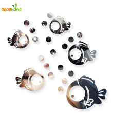 Bubble Fish Bathroom Acrylic Mirrored Decorative Sticker Wall Art Mirror Decorative Wall Sticker Bedroom Secor Room Decoration