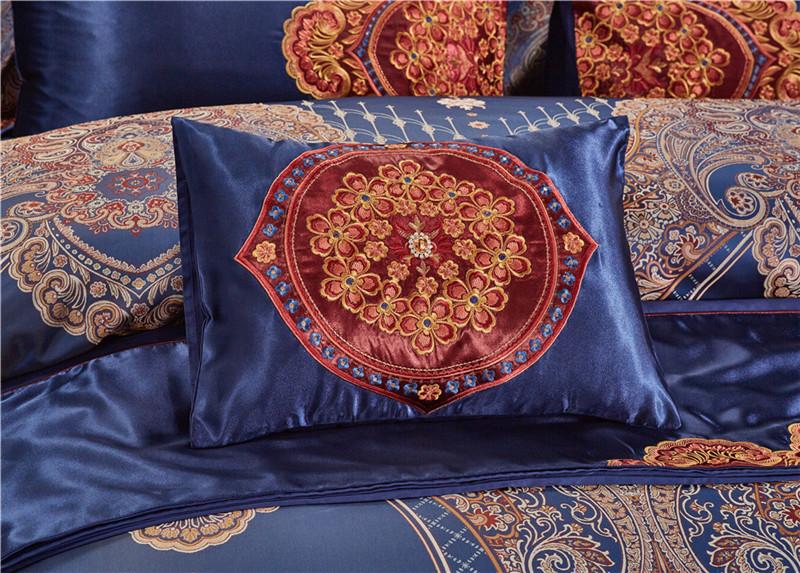 Luxury Bedding Set, Silk Satin Jacquard Bedding Set, Queen, King, Duvet Cover,Bed Linen Flat Sheet Set 28