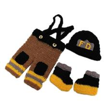 Crochet Newborn baby hat pants shoes Firemen pattern Infant Costume Photography Props Handmade boys girls Outfits set D3