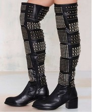 2016 New Rivets Punk Girls Knee High Motocycle Boots Studded Cover Square Med Heel Sexy Lady Long Boots Women Shoes Back Zipper