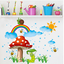 Cartoon Wall Stickers Home Decor DIY Mushroom Bees the Rainbow Wall Decals Art Wall Poster Baby Kids Room Decoration