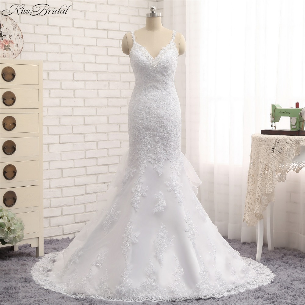 vestido de noiva praia Stunning New Mermaid Wedding Dresses Spaghetti Straps V-neck Lace Bride Dress Sleeveless