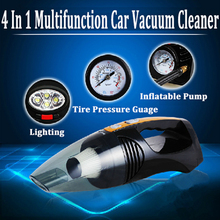 Multi-function Portable Car Vacuum Cleaner Tire Pressure Inflator 100W 12V 4 IN 1 High-Power Wet and Dry Vaccum Cleaner Lighting(China)