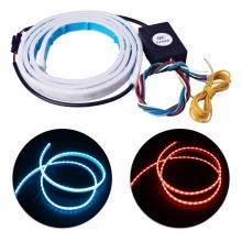 "4.7"" 3 Color Flowing Type DRL Trunk Box Turn Signals Rear Lights LED Strips Car Braking Light Day Running Lights Decoration Lamp(China)"