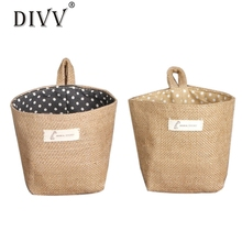 Polka Dot Small Storage Sack Cloth Hanging Non Woven Storage Basket Ma6 Levert Dropship