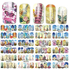 12 Designs Tower Building Pattern Nail Tips Decals Nail Art Water Transfer Stickers Beauty Full Wraps Manicure Tool LAA1213-1224(China)