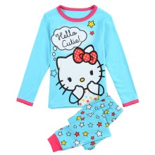Pijama Infantil Kids Girls Hello Kitty Pajamas Set Autumn Nightwear Cartoon 2-7Y Children Pyjamas Set Toddler Sleepwear Clothes