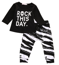 "2pcs Newborn Infant Baby Girl Boy Cotton Long Sleeve Letter ""rock this day"" T-shirt+Leggings Trousers Bbay 2pcs Outfits Set"
