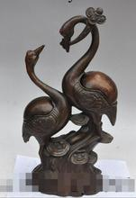 "song voge gem S7203 17"" chinese bronze ruyi crane bird Lovers Couples statue Incense Burner Censer(China)"