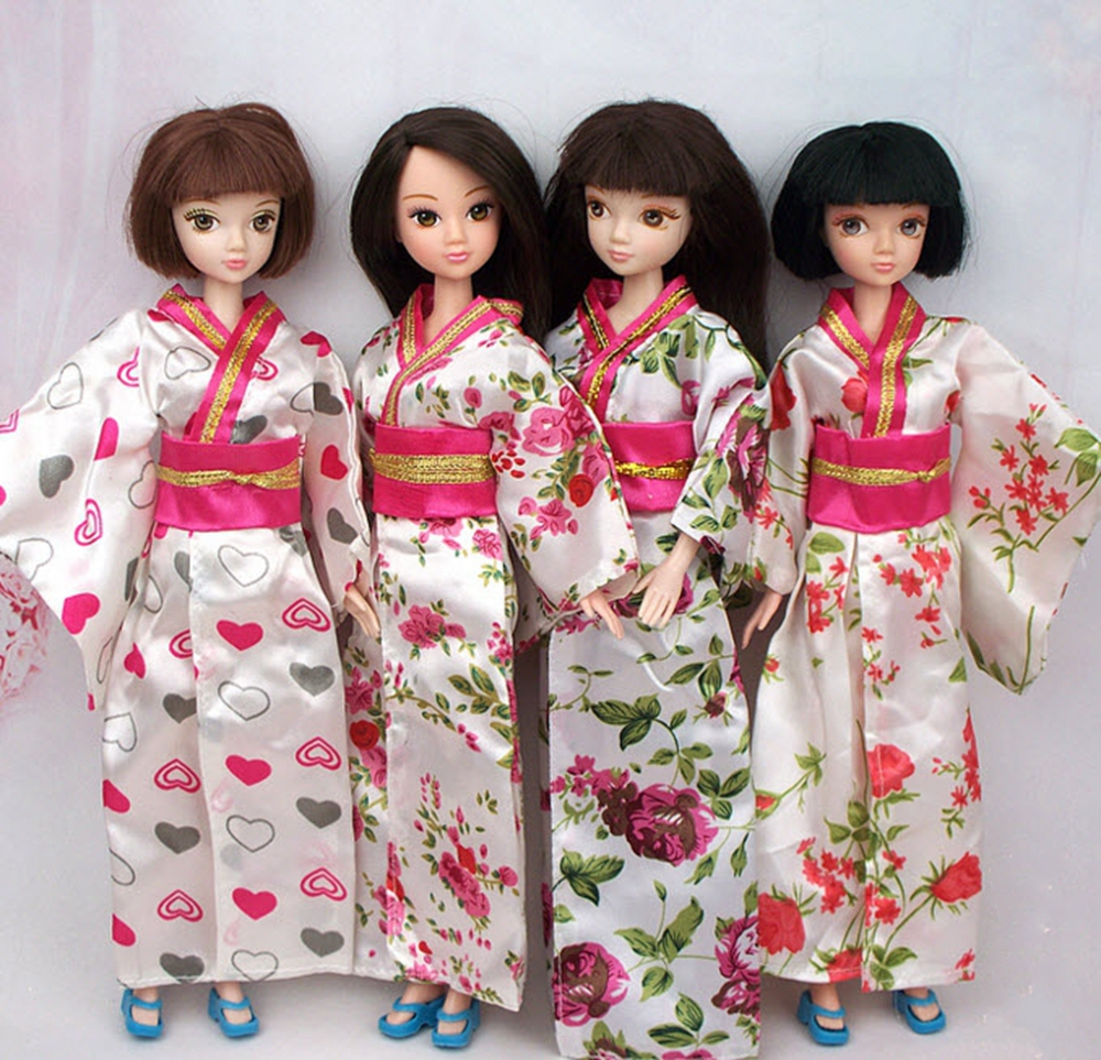 Handmade Fashion Doll Clothes Outfit Traditional Japanese Kimono Dress For Barbie Doll For 1/6 BJD Dolls Cosplay Costume(China (Mainland))