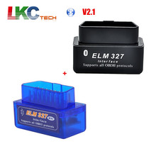 Wholesale Black ELM 327 Bluetooth + Blue Super Mini ELM327 Smart Car Diagnostic Interface V2.1 bluetooth OBD2 Scanner(China)