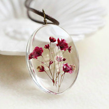 Handmade Dried Flower Necklace Gypsophila Time Dome Glass Pendant Leather Chain Boho Long Statement Necklaces Summer Jewelry