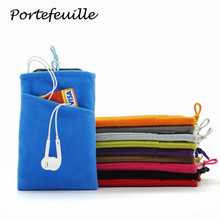 Portefeuille Colorful Double Layer Soft Velvet Bag For Mobile Phone Power Bank Credit Card Earphone Phone Pouch Case Accessories