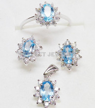 Blue topaz set Jewelry sets Natural real blue topaz 925 sterling silver 1pc ring 1pair stud earring 1pc pendant 1.1ct*4pcs gems