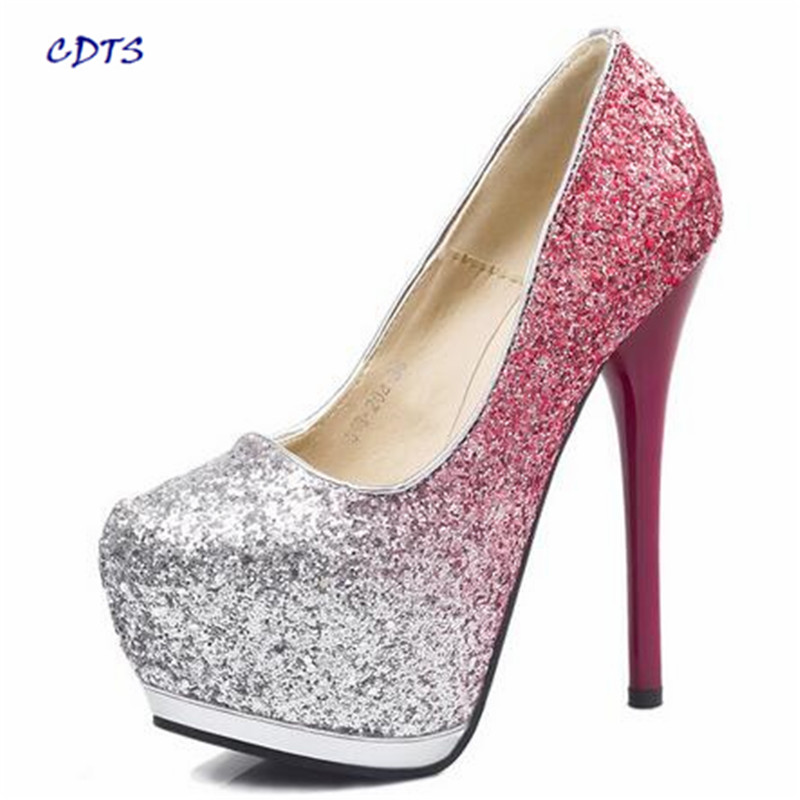 CDTS:34-39 spring/autumn 2017 New Stilettos fashion 15cm Thin high heels platform Bling wedding shoes sexy sequins dress pumps<br><br>Aliexpress