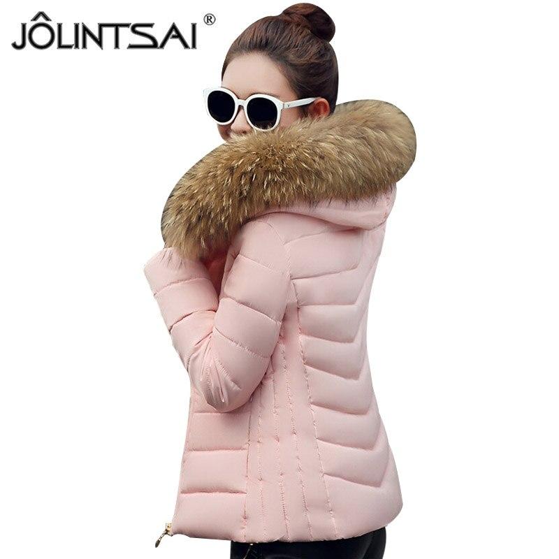 JOLINTSAI 2017 New Winter Jacket Women Large Fur Collar Padded Coats Women Parkas Wadded Thickening Winter Coat FemaleÎäåæäà è àêñåññóàðû<br><br>