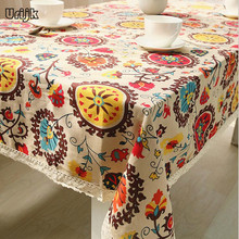 Urijk Tablecloth Lattice Cotton Linen Table Cloth Wedding Home Decoration Table Covers Bohemia Sunflower