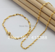 New Hot Fashion 2017 Top Quality 2mm Width Singapore Twisted Chain Bracelet & Necklace 24K Gold Cover Kids Jewelry Sets Women