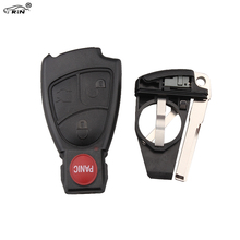 RIN 3 Button + Panic Remote Keyless Smart Key Fob Case Shell Mercedes Benz Battery Holder clip