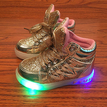 Size 22-31 led sneakers kids toddler gold Silver pink girl shoes children lighting shoes Luminous Flasher glowing sneakers