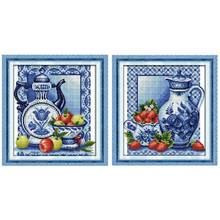 Porcelain and Strawberry Patterns Counted Cross Stitch 11 14CT Cross Stitch Sets Chinese Cross-stitch Kits Embroidery Needlework