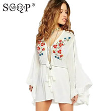 SCQP FASHION Front Lace Up Floral Embroidery Dress Deep V Neck White Cotton Dress Mini Loose Vintage People Style Women Dresses(China)