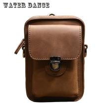 WATERDANCE Genuine Leather Waist Packs Fanny Pack Belt Bag Phone Pouch Bags Travel Waist Pack Male Small Waist Leather Pouch