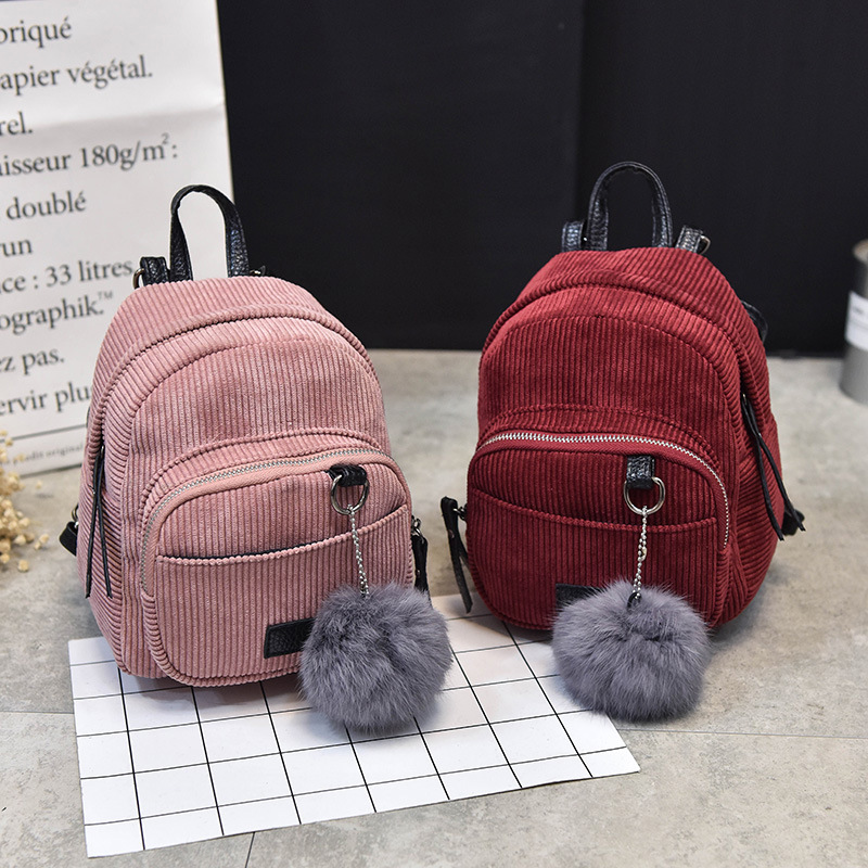 The new 2017 han edition canvas backpack female fashion joker lovely mini bag lady one shoulder backpack hair bulb<br><br>Aliexpress