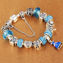 Cinderella dress dangle charms bracelet with Bear Claw beads fit Brand Bracelet for women