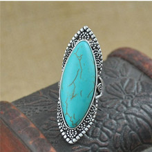 H:HYDE 2017 Green Stone Ring For Women Antique Silver Color Oval Natural Stone Fashion Vintage Jewelry
