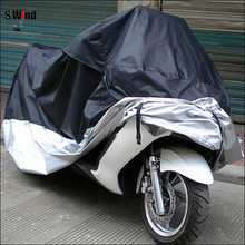 Outdoor Waterproof UV Protector Motorbike Rain Dust Resistant Cover Bike Motorcycle Cover Black and Silver Size L