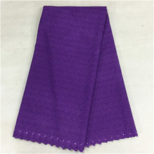 Nice looking purple swiss voile lace embroidery african cotton lace fabric with beads for party dress BC9-3,5yards/pc