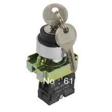 XB2BG41C Key Rotary Select Selector Switch 1NO 2 Positions Maintained Self Locked Key Out at Left Right 22mm Mounting Hole(China)