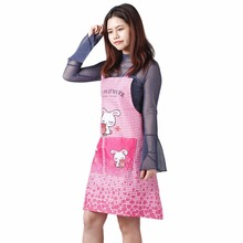 2 Colors Fashion Waterproof Women Kitchen Apron Cute Cartoon Restaurant Bib Cooking Sleeveless Apron Lattice Design With Pockets(China)