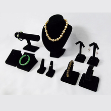 Black Velvet Jewelry Display Props Small Counter Showcase for Shop Window with Necklace Chest Earrings Rings Stand Holder