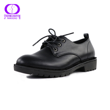 Lace-Up Casual Oxford Platform Shoes For Women Oxford Flat Shoes PU Soft Leather Vintage Retro Women Shoes zapatos oxford mujer