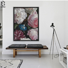 ROMANTIC FLORAL Canvas Painting Flowers Wall Art Poster and Print Texture Picture for Living Room Wall Decoration Home Decor(China)