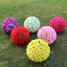 "40 CM/15.7"" Artificial Silk Flower Rose Kissing Ball Super Large Size Lantern for Christmas Ornaments Party Wedding Decoration"