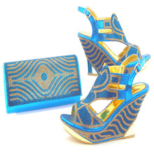 2017 New Arrival Italian Shoes With Matching Bags Latest Rhinestone African Women Shoes and Bags Set For Sale(China)