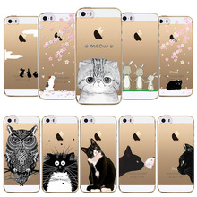 Phone Cases For Apple iphone 5 5s SE Love Owl Rabbit Cat Soft Sillicon Transparent TPU Mobile phone bags Back Cover fundas coque