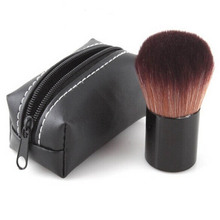 Hello Kitty Natural Animal Black Soft Hair Makeup Tool Blush With Leather Bag Face Power Brush