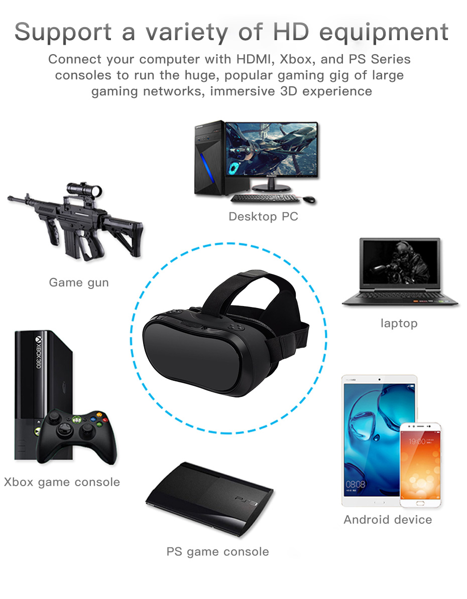 vr headset vr glasses virtual reality for pc HDMI All In One 3d glasses VM02-14