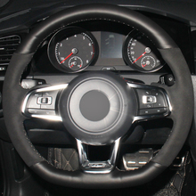 Xuji Car Steering Wheel Cover Black Genuine Leather Suede for Volkswagen Golf 7 GTI Golf R MK7 VW Polo GTI Scirocco 2015 2016